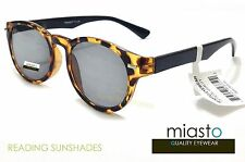 NWT$39.99 MIASTO ROUND FULL SUN READER READING SUNGLASSES SHADES +2.50 TORTOISE