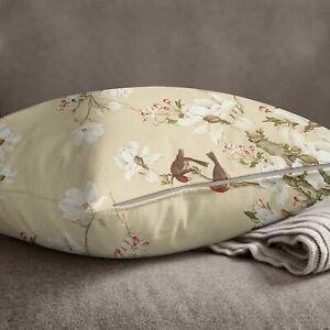 S4Sassy Square Cotton Poplin 2 Pcs Floral & Bird Print Beige Cushion-vHE