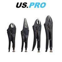 "US PRO 4pc Black Locking Pliers Set 5"" 6.5"" 7"" & 10"" - Mole Vice Clamp Grips"