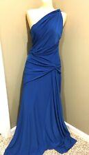 JESSICA MCCLINTOCK One Shoulder Jersey Cocktail Formal Gown Dress Royal Blue 10