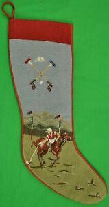 Polo Player Christmas Needlepoint Stocking