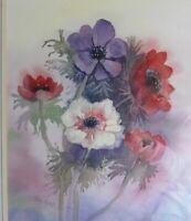 Anemones. An Original Watercolour by artists Pru Ross. Unframed.