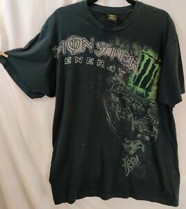 Vintage Monster Energy Drink S/S T-Shirt Distressed Double Sided Graphic L EUC