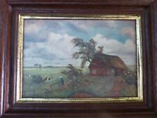 Vintage painting Cottage,cows,girl,countryside,roses.Otto Modersohn sweet