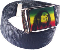 Bob Marley Rasta Roots Belt Buckle Bottle Opener Adjustable Web Belt