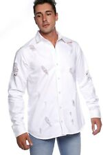 NEW Mens White Distressed Denim Shirt Men's Ripped Button Up with Long Sleeve