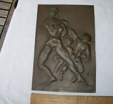 Fine EMMANUEL VIVIANO Chicago Art Deco COPPER PLAQUE-Repousse NUDES-NR