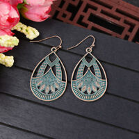 Vintage Women Bohemian Boho Style Engrave Leaf Hook Dangle Beads Alloy Earrings
