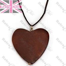 LARGE BROWN NATURAL WOODEN HEART pendant NECKLACE 43cm long suede style RETRO