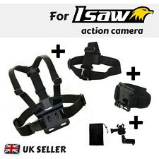 Set of 3 Chest Head Wrist Strap for Isaw Edge Advance Air A3 Extreme Action Cams