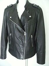 XL MICHAEL KORS JACKET GENUINE LAMB LEATHER Women Black Fitted Quilted Moto $375