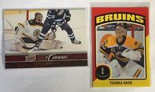 2 Tukka Rask Inserts 2012-13 UD Canvas #C6 & 2014-15 OPC Sticker #ST-35 - Bruins
