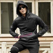 Fashion Mens Faux Leather Sweats Hooded Coats Casual Punk Rock Hoodies Jackets