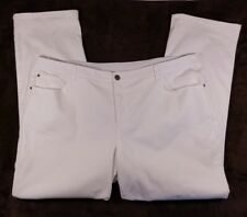 NWT Christopher & Banks Classic Fit Straight Leg White Jeans Flex Waist ~ 24W