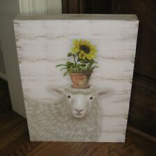 LAMB w/Pot of Sunflower Wood PICTURE*Primitive/French Country Farmhouse Decor