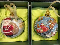 2 Vtg Hand Painted Christmas Raised Porcelain Balls Ornaments Sculpted Santa