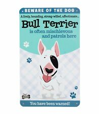 Beware of the English Bull Terrier Funny Metal Wall Sign Plaque Dog Lovers Gift