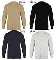 Men's Plain Cardigan Cotton Mix V Neck Buttoned Jumper S To 5XL King Size