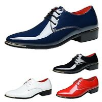 Pointed toe Wedding Cuban Shoes heel Brogues formal Party Mens plus Size 5-14