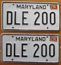 Maryland 1983 License Plate PAIR # DLE 200