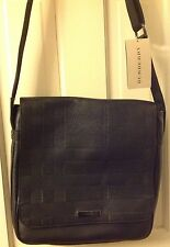 BURBERRY Embossed Check Leather Small Rally Messenger Tote Bag NWT