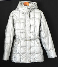 Baby Phat Coat Parka Silver Belted Insulatied Removable Hood Size L