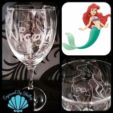 Personalised Disney Ariel Wine Glass! The Little Mermaid Handmade FREE Engraving