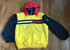 Youth Boys Tommy Hilfiger Coat Coloblock Yellow Blue Red Flag XL Vintage