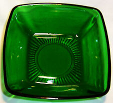 """ANCHOR HOCKING GLASS FIRE KING CHARM FOREST GREEN 4-3/4"""" SQUARE DESSERT BOWL!"""