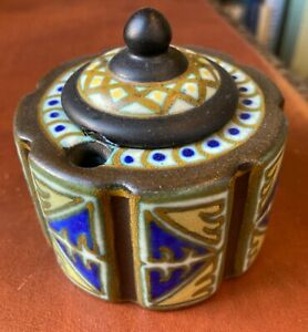 RARE Gouda ART NOUVEAU Antique Inkwell Pottery, Glass Insert, Signed on bottom