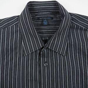Van Heusen Studio Men's XL 17-17.5 Black Striped Button Up Short Sleeve Shirt