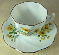 VINTAGE FINE BONE CHINA CUP & SAUCER with BROWN EYED SUSANS