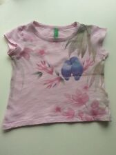 """Baby Girl's BENNETTON (UCB) Pink """"Parrots"""" Cap Sleeved Top 12 months"""
