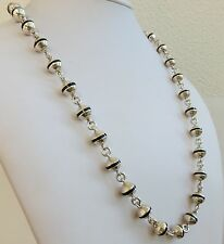 Mexico sterling art deco silver round black onyx stripped flapper bead necklace