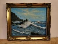 Stunning Scenic Crashing Waves ORIGINAL Oil Painting by Graham Clarke Seascape.