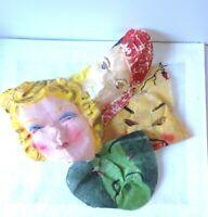 Vintage Halloween Masks Cloth Lot of 5 Very Rare 1950's Era Creepy