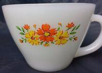 Fire King Milk Glass Anchor Hocking Floral Flower Tea Cup Coffee Mug Snack 6 oz
