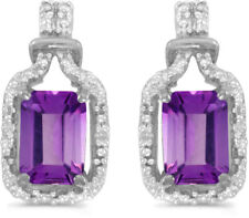 14k White Gold Emerald-cut Amethyst And Diamond Earrings