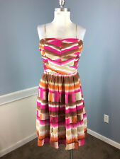 BCBG M 8 100% silk Cocktail Party Dress Flare brown Pink orange Ombre Excellent