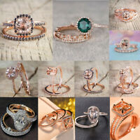 3PCS/Set Women Chic Emerald 18K Rose Gold Plated Wedding Bridal Ring 6-10