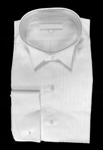 New Men's White Tuxedo Shirt Wing Collar 100% Cotton French Cuffs M 15.5 34/35