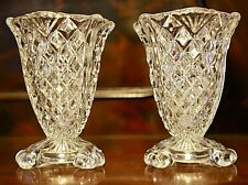 Vintage Retro Pair of Pressed Glass Bud Posy Vases 11.5 cm high  EUC