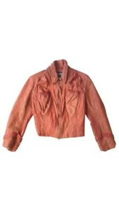Gaultier Leather Unisex Washed Red Colored Biker Jacket