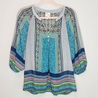 Fig and Flower Boho Top Anthropologie Peasant Chiffon Blouse Shirt Sheer Small