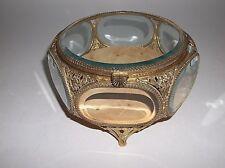 Vintage Stylebuilt Gold Ormolu Jewelry Box Casket Beveled Glass