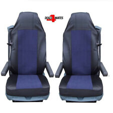 2X BLUE BLACK FABRIC TAILORED SEAT COVERS FOR VOLVO TRUCKS FH12 FH 16 FL FM FH16