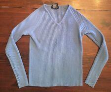 JR Womens Long Sleeve Sweater BLUE Ribbed V Neck LONG LENGTH Size M 7-9