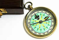 DOLLOND LONDON SHIP BRASS DIRECTION COMPASS WITH WOODEN BOX
