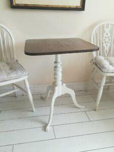 Oak Tilt top Table Tripod Wine Lamp Side End Painted Turned Column Antique