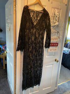 SEXY Black See Through With Nightie Nightdress Teddy Long XL Size 16-18